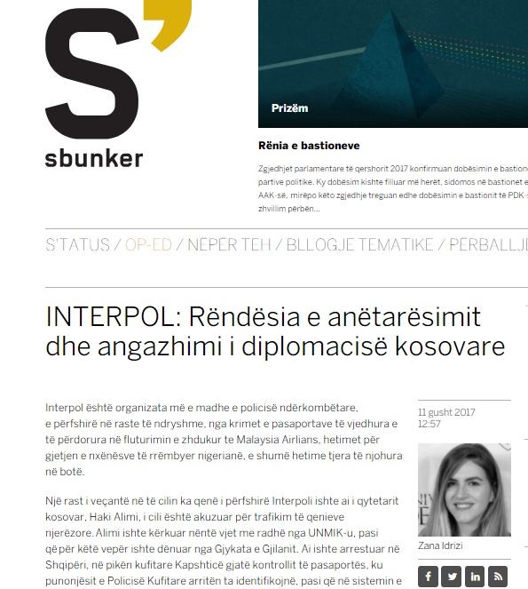 INTERPOL: Rëndësia e anëtarësimit dhe angazhimi i diplomacisë kosovare - Zana Idrizi